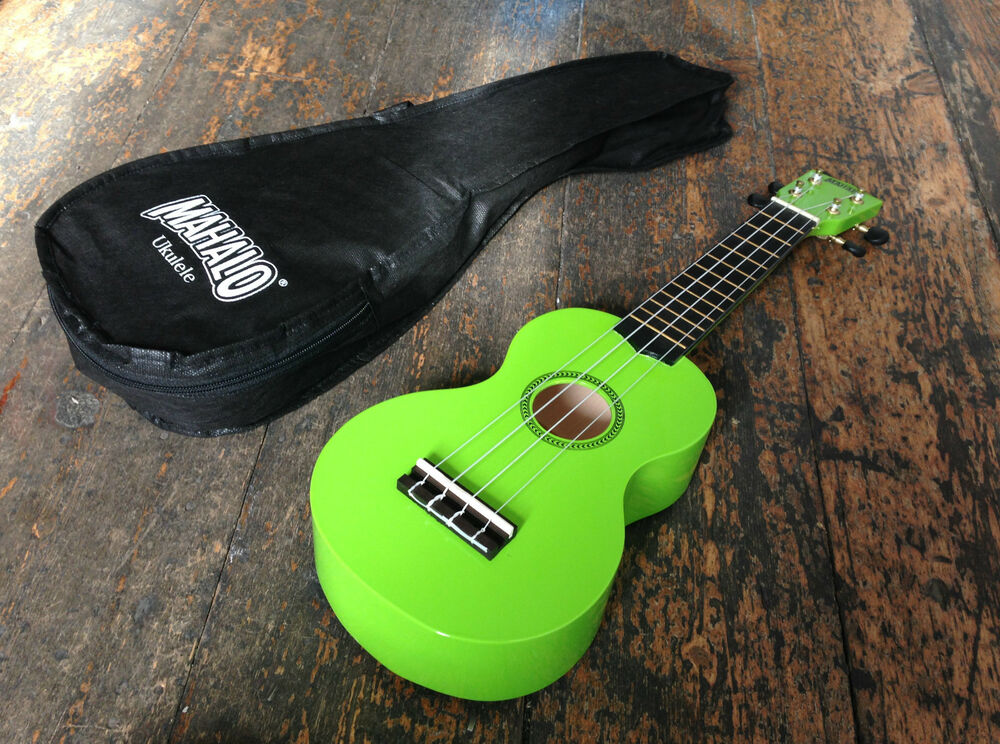 mahalo lime green soprano ukulele uke fitted with aquila strings case ebay. Black Bedroom Furniture Sets. Home Design Ideas