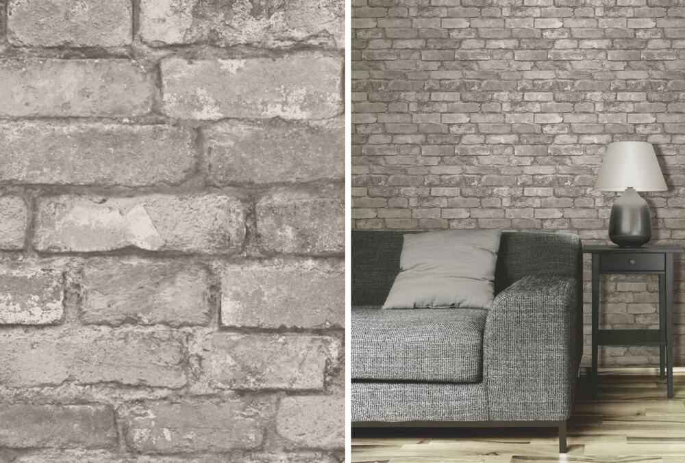 Rustic Brick Wall Decor : Fine decor grey rustic brick effect photographic wall