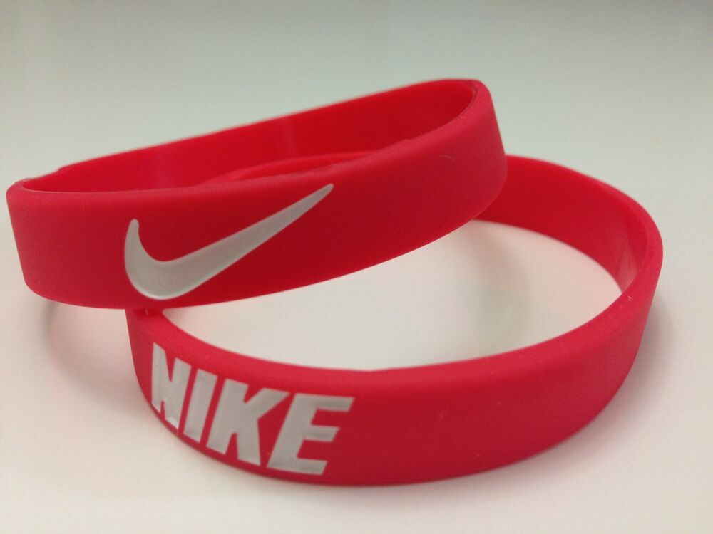 Nike Sport Baller Band Red w/wht Silicone Rubber Bracelet ...