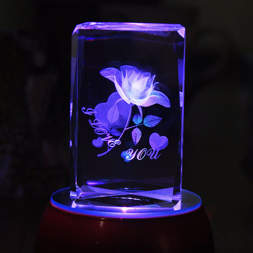 3d Laser Etched Crystal Paperweight Rose Flower Figure