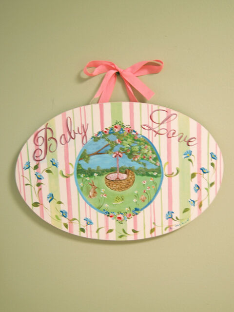 Shabby cottage chic baby wall plaque sign pink oval wall for Chic baby nursery ideas