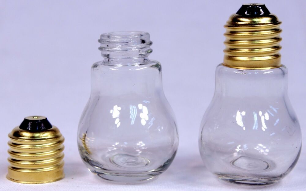 Clear Glass Fillable Light Bulbs, 3 Inch Tall, Removable Gold Lid, Case of 24 : eBay