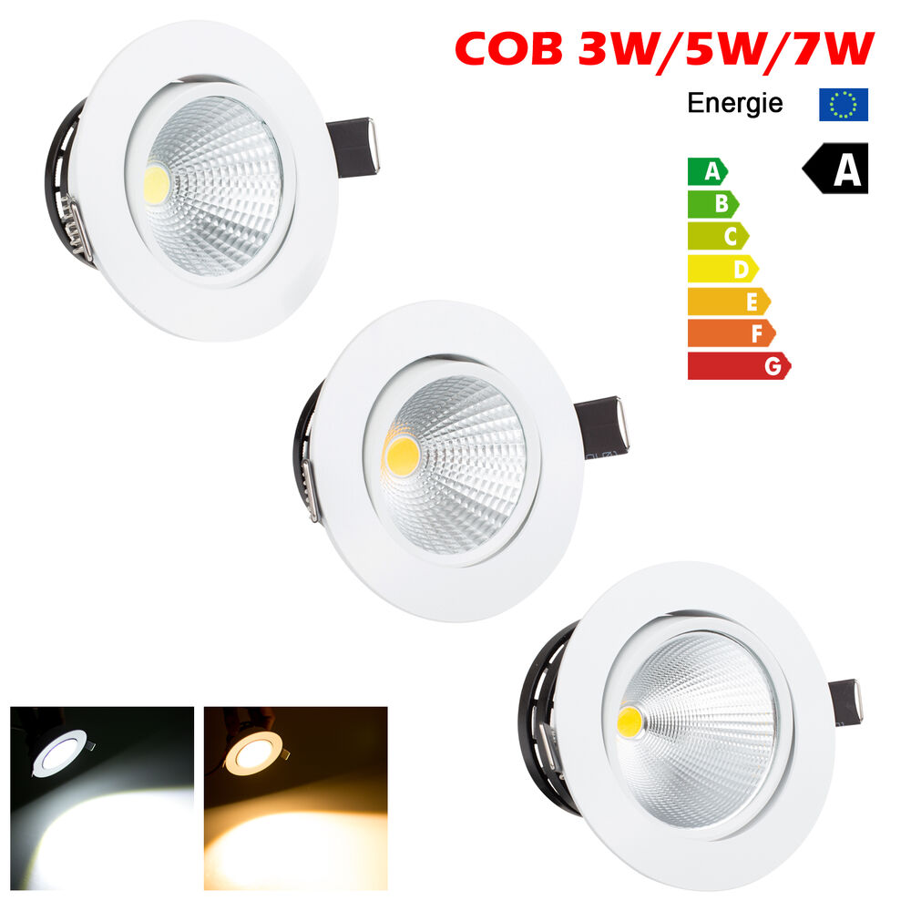 dimmable 3w 5w 7w cob led ceiling recessed downlight. Black Bedroom Furniture Sets. Home Design Ideas
