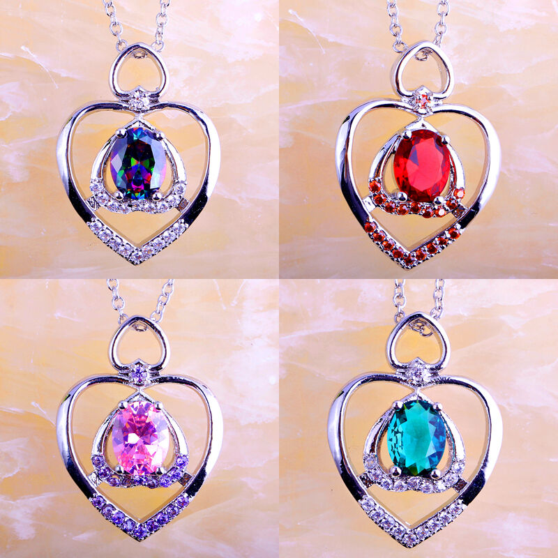 Rainbow & Pink & Green Sapphire & Ruby Spinel Gems Silver Chain ...