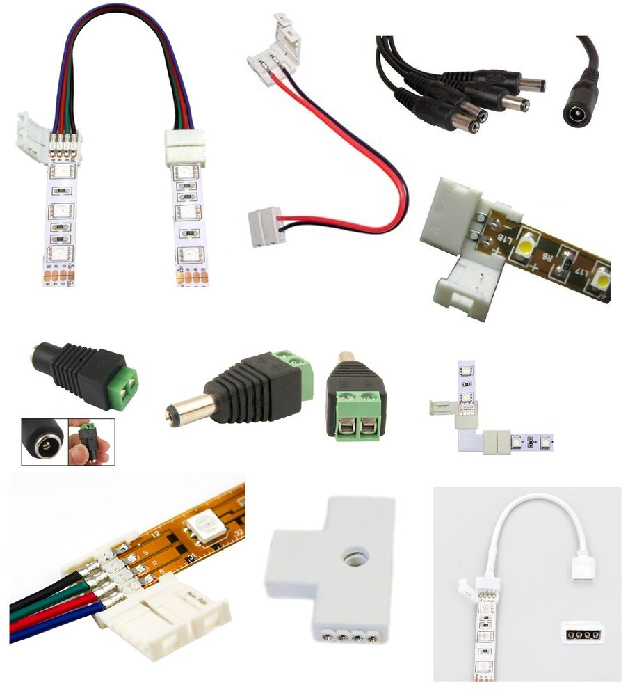 LED 3528/5050 Strip Wire Connectors RGB Female Male DC Adapters Waterproof Cable   eBay
