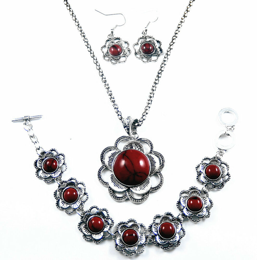Antique Silver Red Turquoise Flower Necklace Bracelet ...