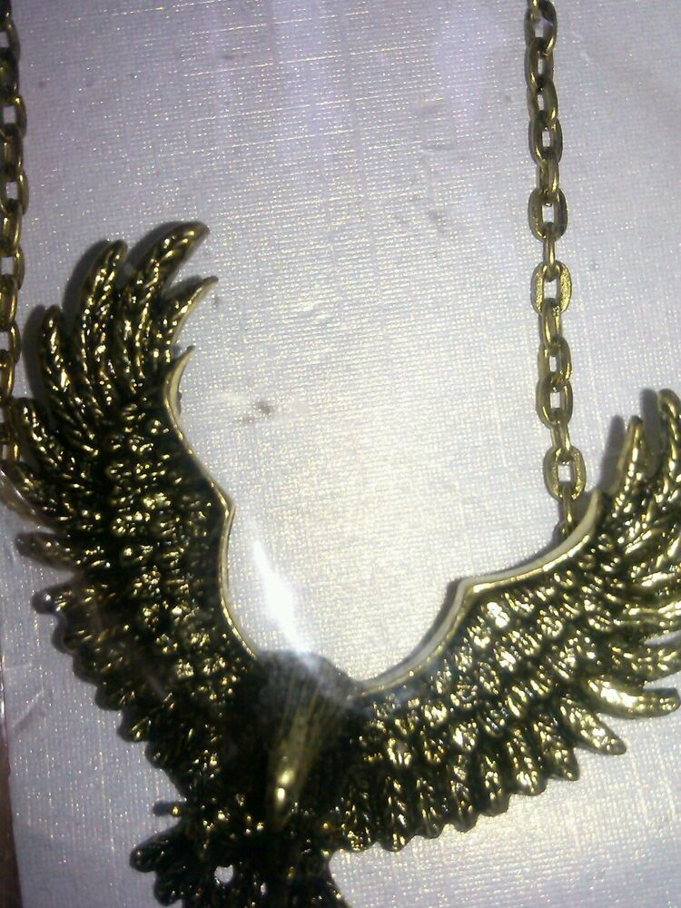 new gold tone american eagle necklace earrings biker