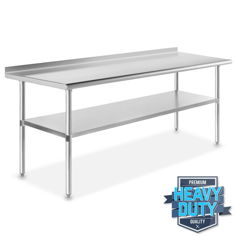 Stainless steel commercial kitchen work prep table with backsplash 30 x 72 ebay - Industrial kitchen table stainless steel ...