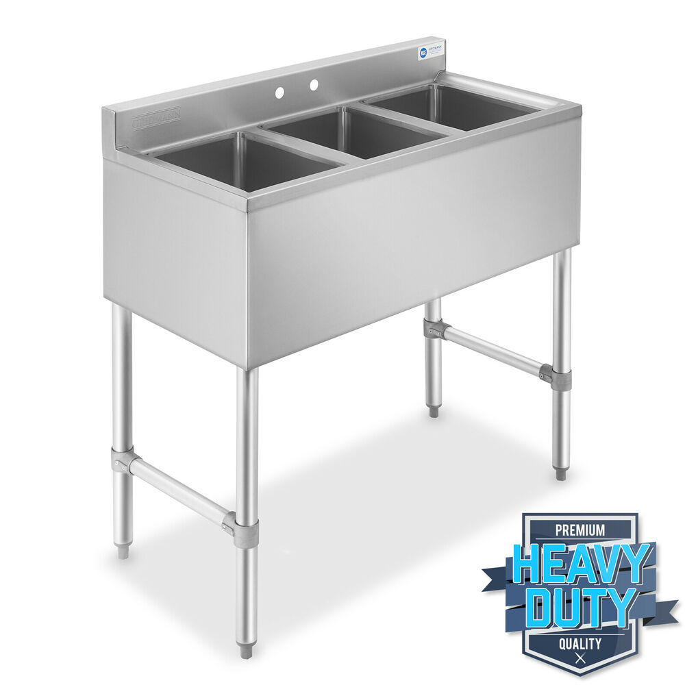 Three 3 Compartment Stainless Steel Commercial Kitchen Bar