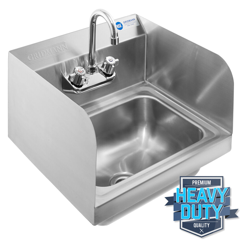 Stainless Wall Mount Sink : Commercial Kitchen Stainless Steel Wall Mount Hand Sink with Side ...