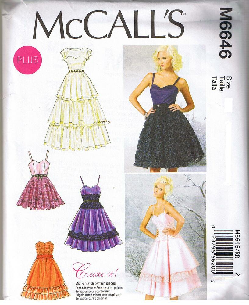 Boned Bodice Dress Gown Tiered Skirt Straps Sewing Pattern