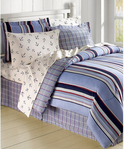 Nautical Beachy Bedding: Red White Blue Sailboat Nautical Anchors Twin Comforter