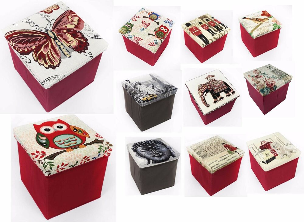 ottoman tapestry foldable storage box chest seat organiser s