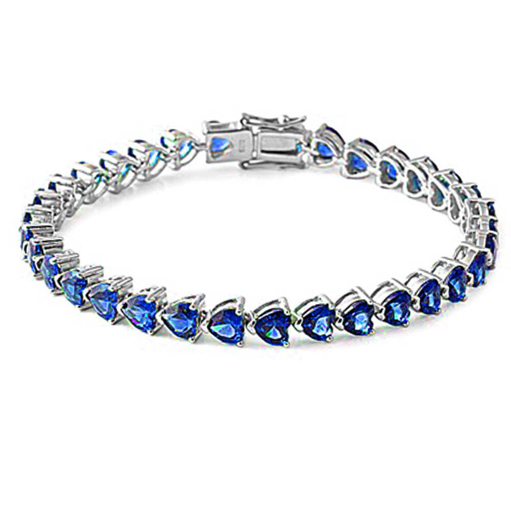 Bracelet With Hearts: Blue Sapphire Hearts .925 Sterling Silver Bracelet 7.25