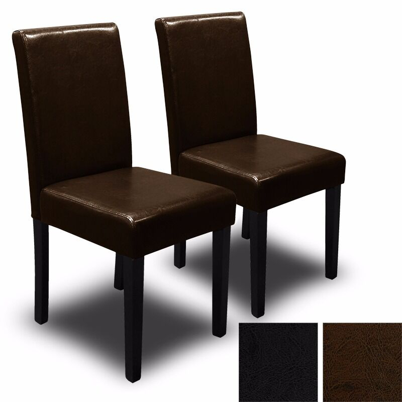 Set of 2 black brown elegant design pu leather for Black leather dining room chairs