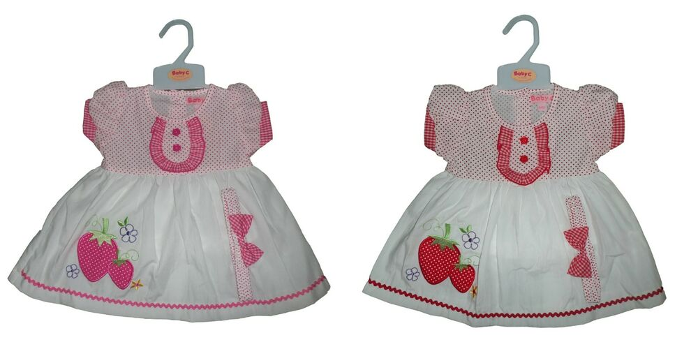 3b9d9b9ee322 NEW BABY GIRLS STRAWBERRY DRESS + KNICKERS HEADBAND OUTFIT SET 3-6-9 ...