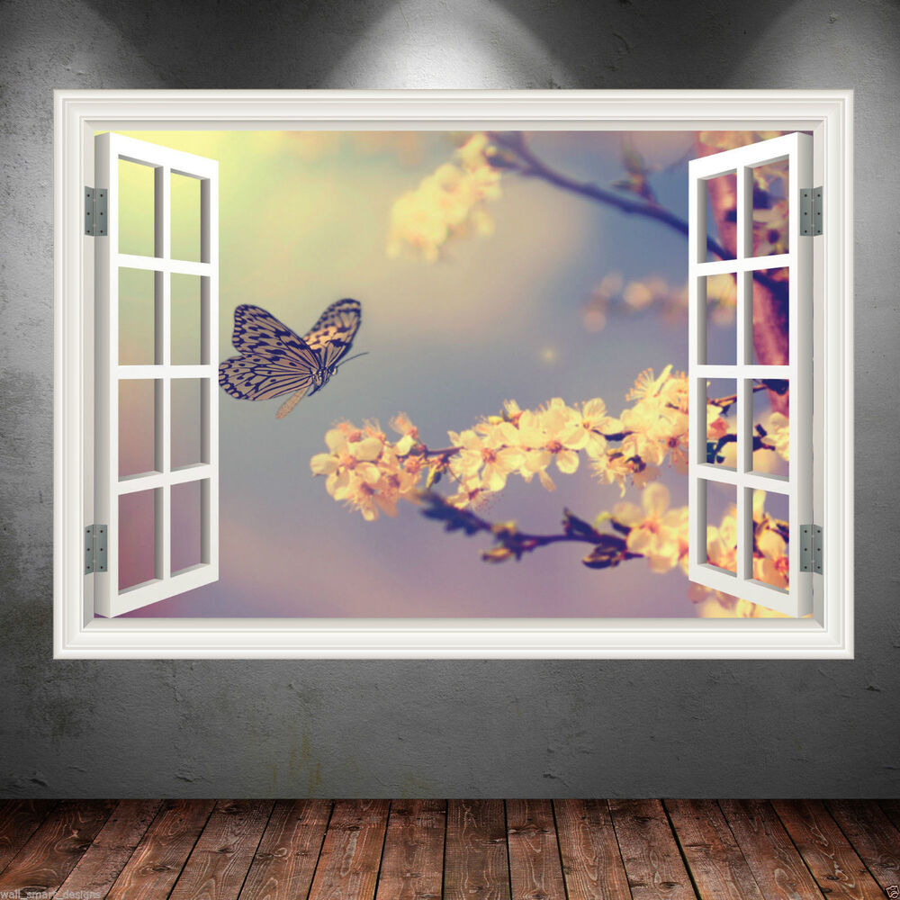 Butterfly window frame full colour wall art sticker decal for Decor mural wall art
