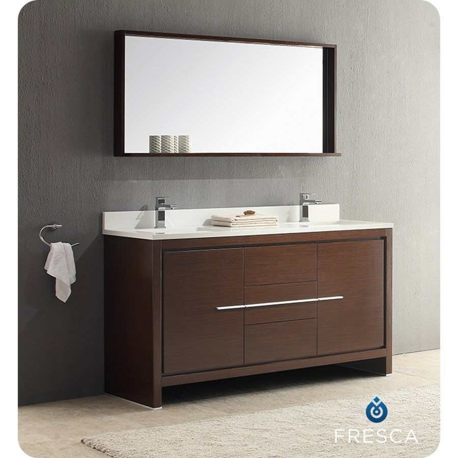 Fresca allier 60 wenge brown modern double sink bathroom - Contemporary double sink bathroom vanity ...