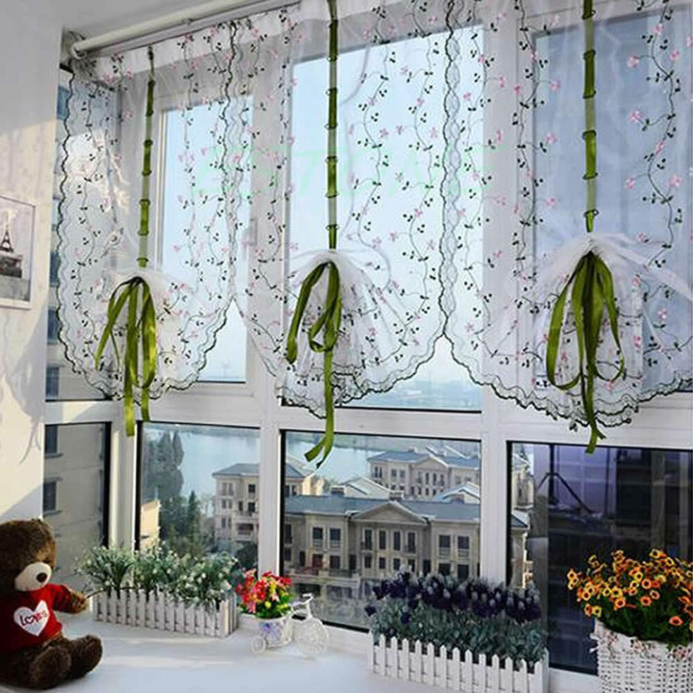 Rural fresh hand embroidered floral shade sheer door cafe for Rideaux fenetre salle de bain