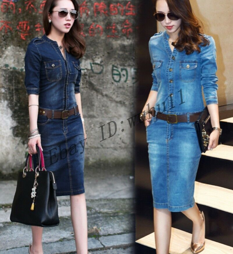 Lastest Fitted Denim Shirts Women Long Boyfriend Jeans Shirt Dress All Matched