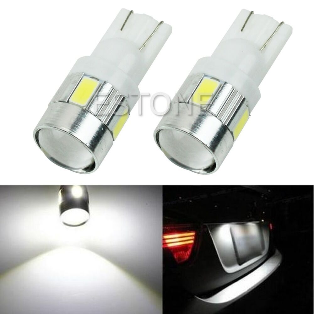 2 x t10 w5w 5630 6 smd led white car wedge side light bulb. Black Bedroom Furniture Sets. Home Design Ideas