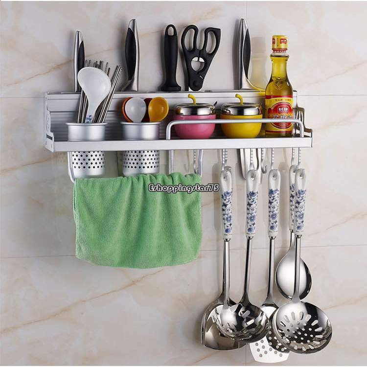 Silver kitchen rack spice knife tool condiment storage holder wall mounted ebay - Wall mounted spice racks for kitchen ...