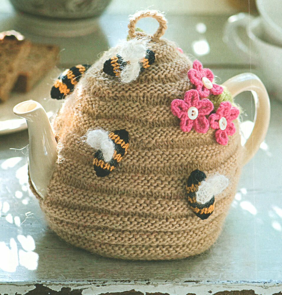 Novelty Tea Cosy Knitting Patterns : Beehive Tea Cosy ~ Bees & Flowers ~ DK Wool Knitting Pattern eBay