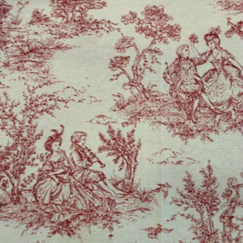 french toile de jouy fabric pink red shade 100 cotton vintage shabby chic style ebay. Black Bedroom Furniture Sets. Home Design Ideas