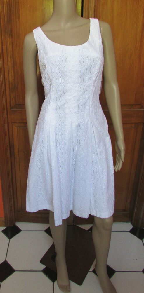 Lord Amp Taylor 100 Cotton White Fit N Flare Dress Multiple