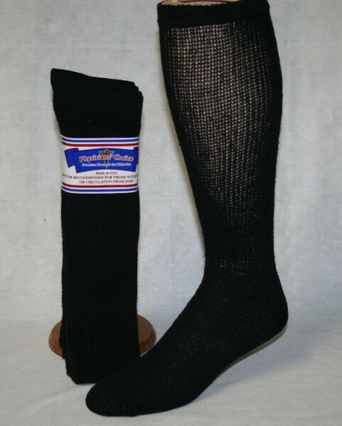 6 PAIRS PHYSICIANS CHOICE OVER THE CALF CUSHIONED DIABETIC SOCKS 10-13 MADE USA