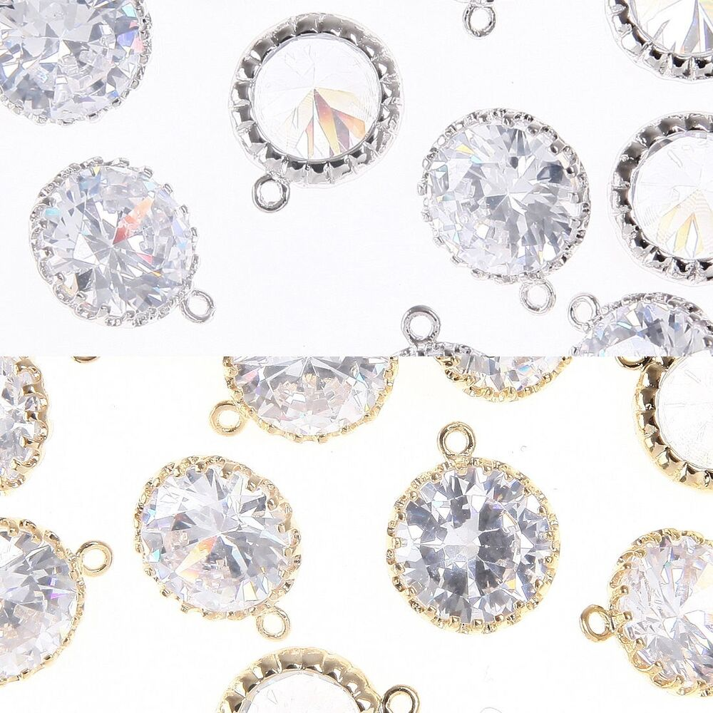 Round cz metal beads pendants connectors earring for Earring supplies for jewelry making