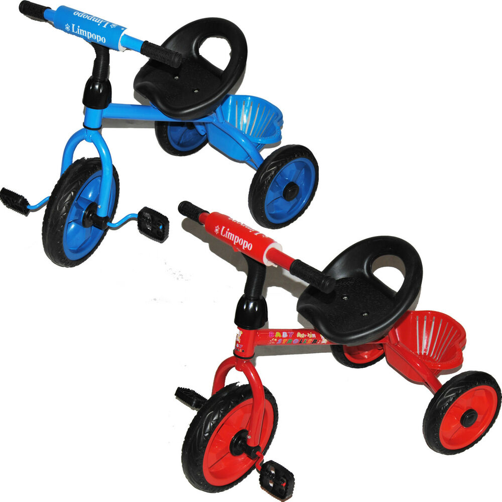 dreirad f r kinder kinderdreirad fahrrad baby kinderfahrrad blau oder rot ebay. Black Bedroom Furniture Sets. Home Design Ideas