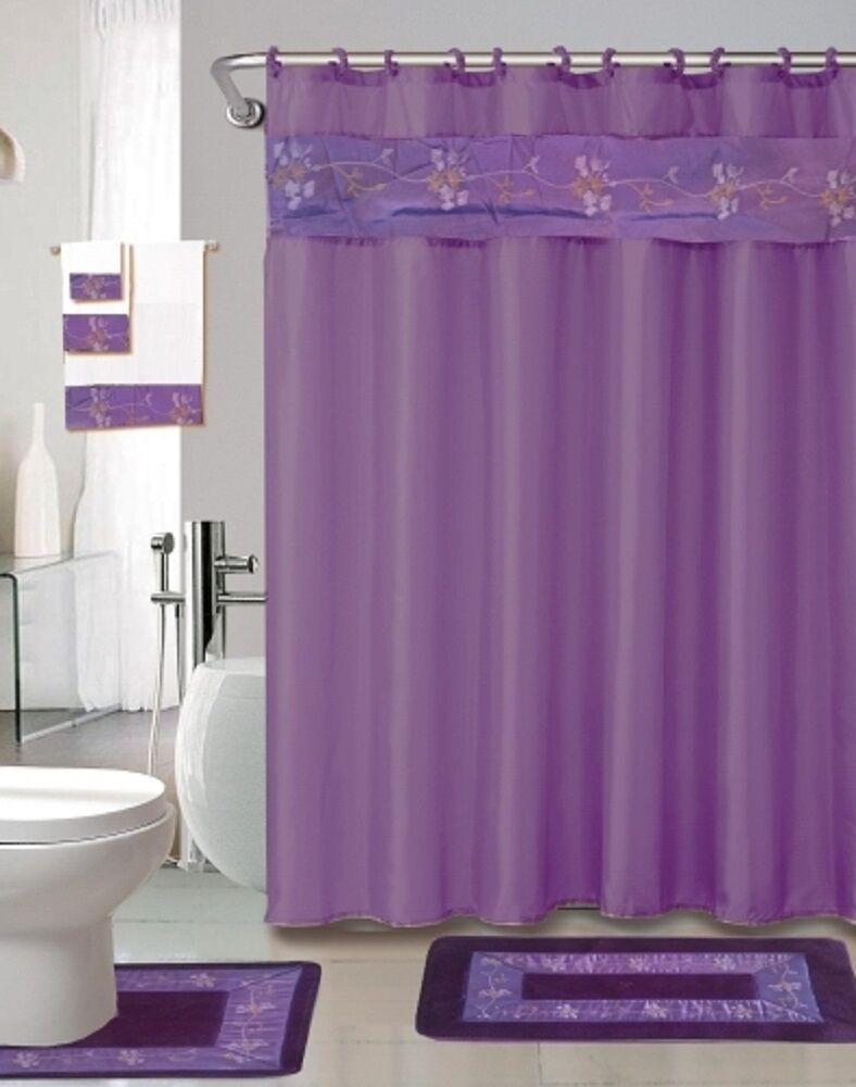 Bath Rug Set Walmart: 18 Pc Bath Rug Set Purple Flower Design Bathroom Shower