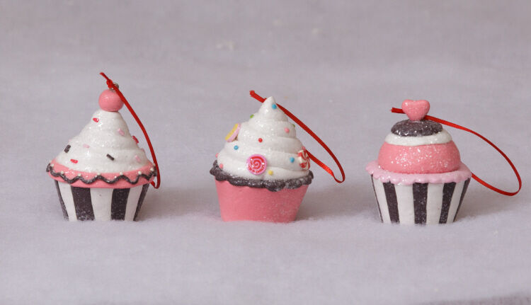 Christmas candy cupcake ornaments in pink and brown set of for Edible christmas gifts to make in advance