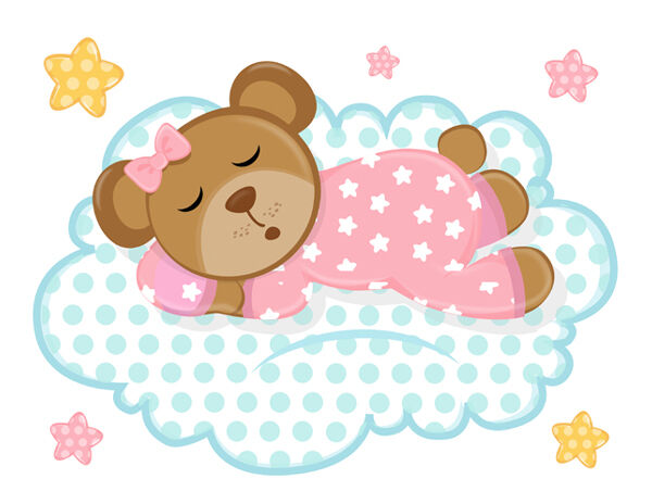 Pink teddy bear wall mural decals cloud stars baby girl for Baby girl nursery mural