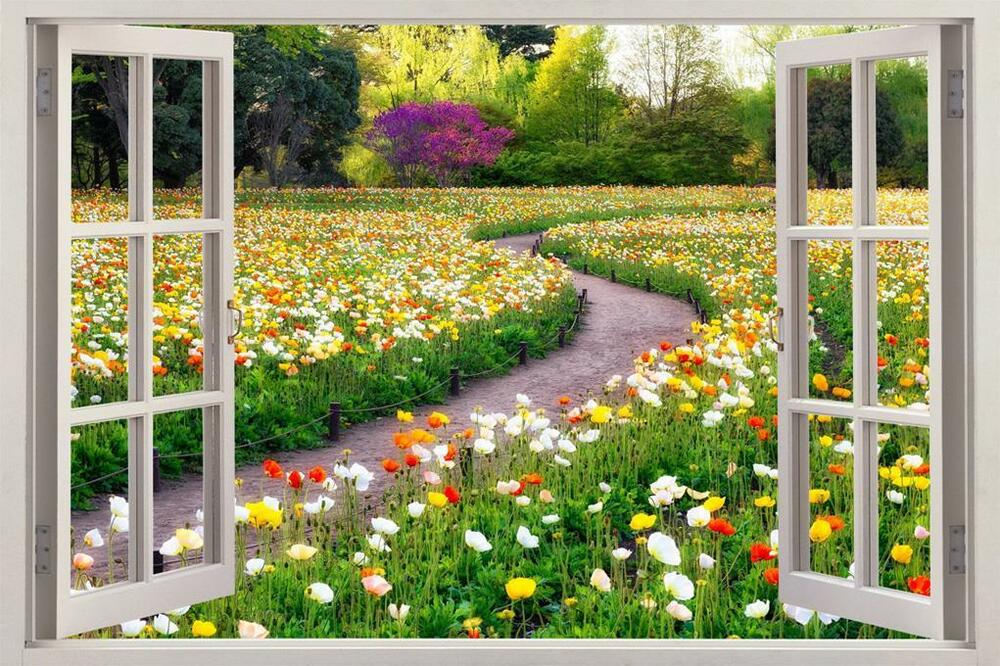 Flower garden 3d window view decal wall sticker home decor for Mural garden
