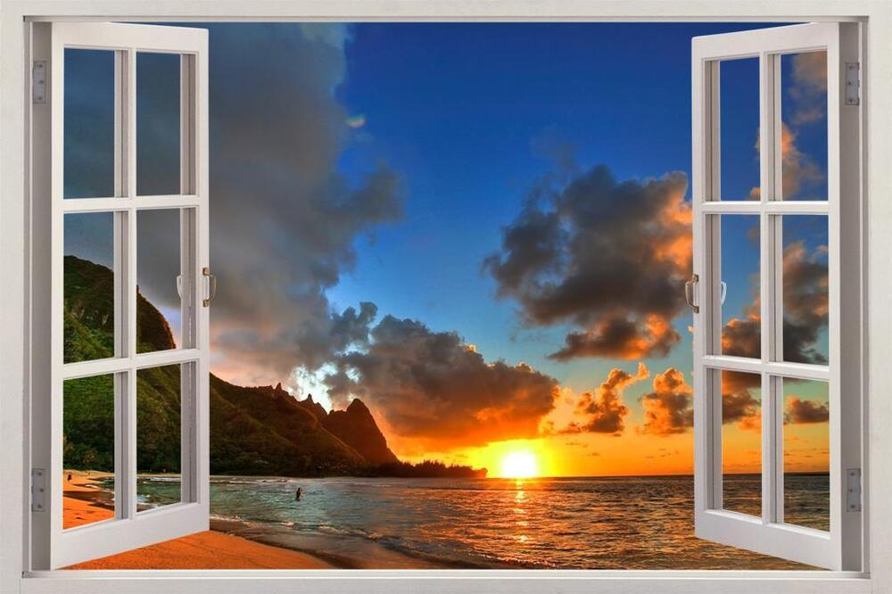 Ocean beach at sunset 3d window view decal wall sticker for Beach view wall mural