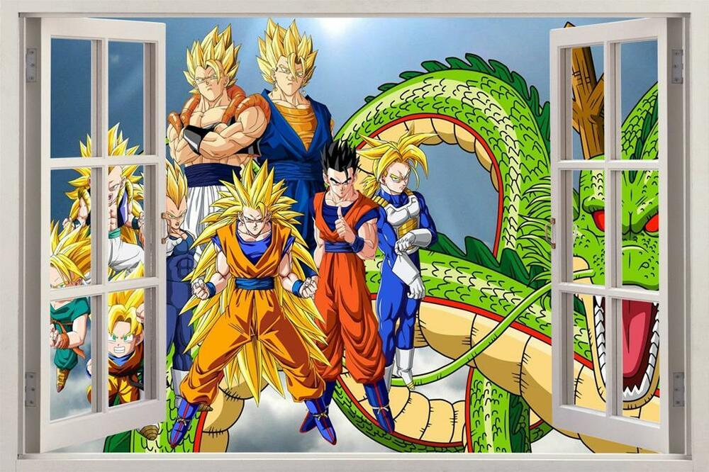 Dragon ball z 3d window view decal wall sticker decor art for Decoration murale dragon ball