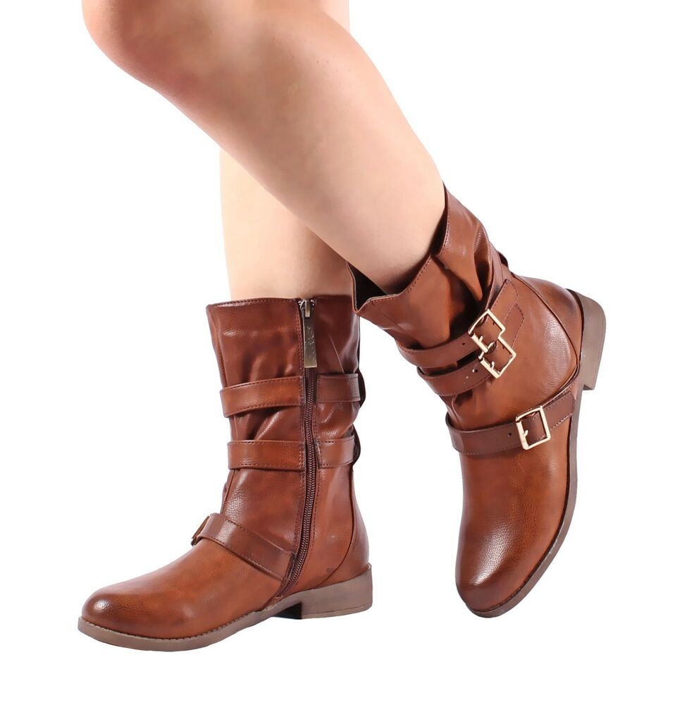 brown zip open buckle fashion mid calf boots shoes