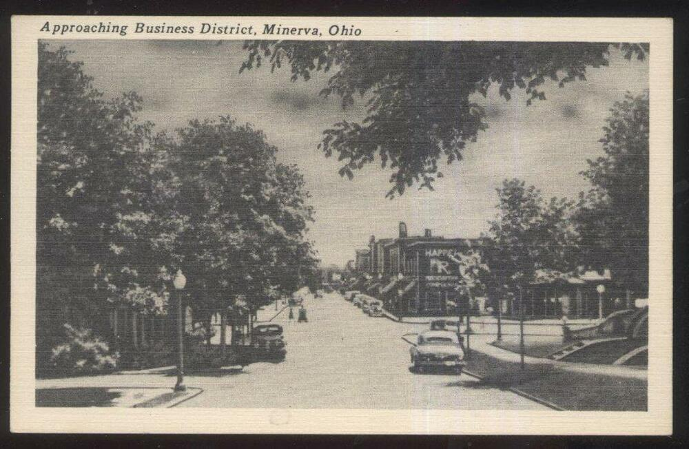 postcard minerva ohohio market street business district