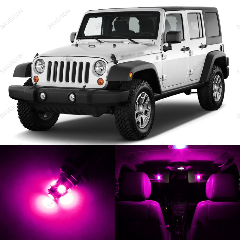5 x pink purple led interior light package for 2007 2014 jeep wrangler ebay for Jeep wrangler interior lighting