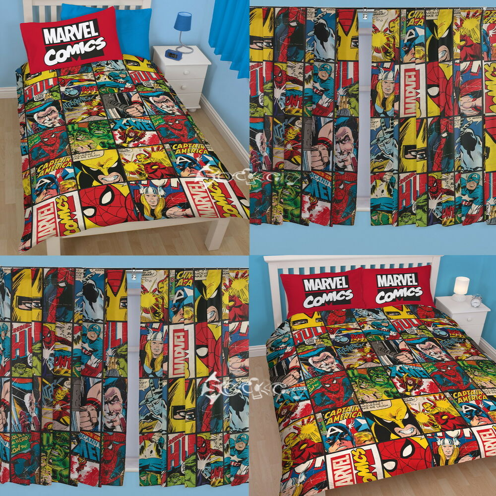 Marvel Comics Defenders Single / Double Duvet And Matching Curtains Set  Avengers | EBay