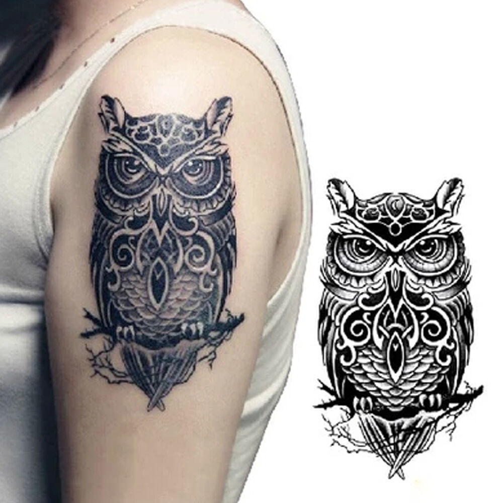 Body waterproof owl temporary tattoos arm leg art for Temporary tattoo sticker