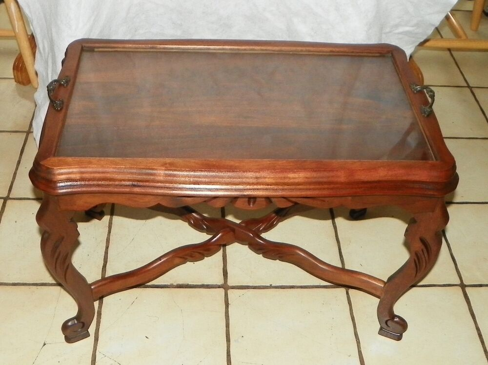 Solid Walnut Carved Coffee Table With Serving Tray Jlc Ct81 Ebay