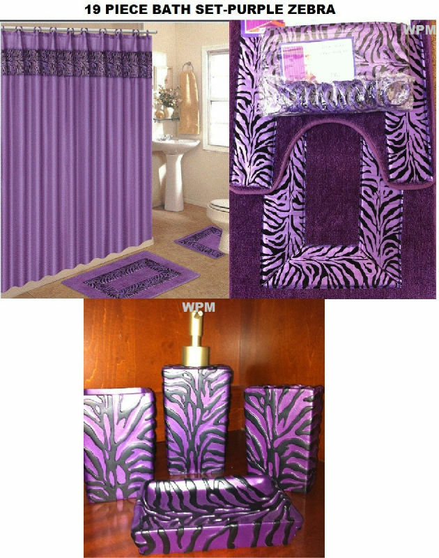 19 pc bath accessory set animal purple zebra print banded for Zebra print and red bathroom ideas