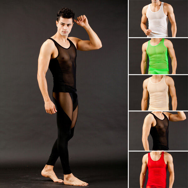 Men 39 s sexy gauze sheer mesh fitness tank top bodybuilding for Best fitness t shirts