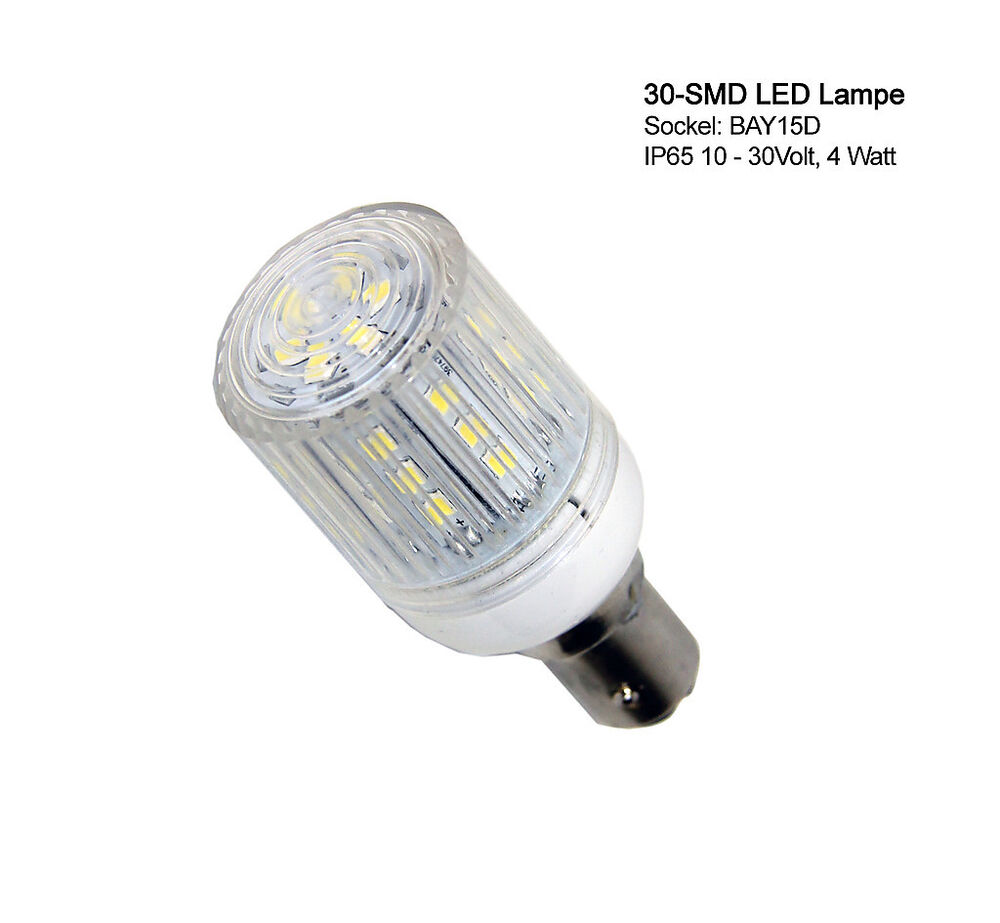 30 smd led lampe mit schutzkapsel ip65 wasserfest bay 15d sockel 12 24 volt 4w ebay. Black Bedroom Furniture Sets. Home Design Ideas
