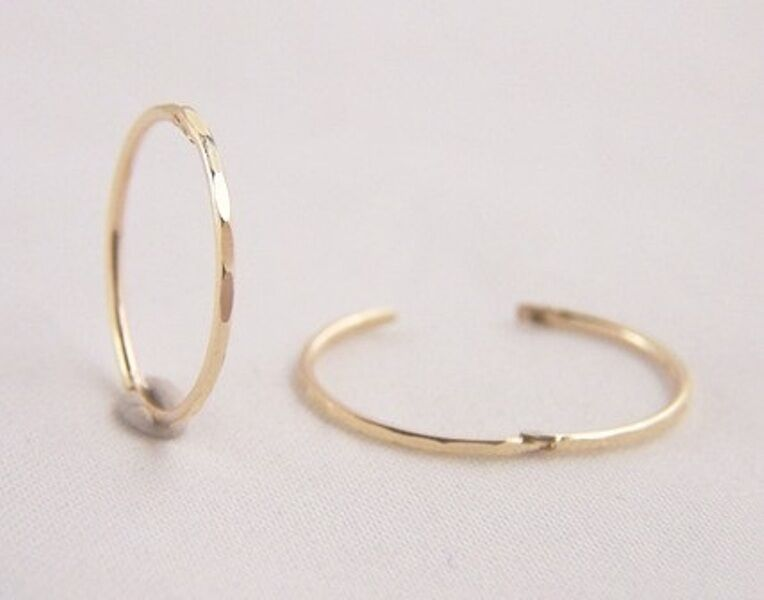 9ct Gold 14mm Small Faceted Hinged Hoop Sleeper Earrings