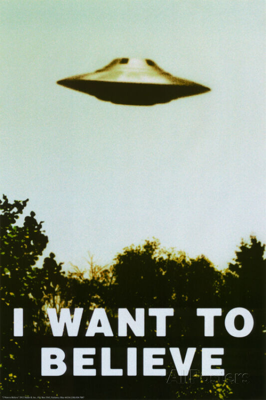The X-Files I Want To Believe TV UFO Poster Print, 24x36 ...
