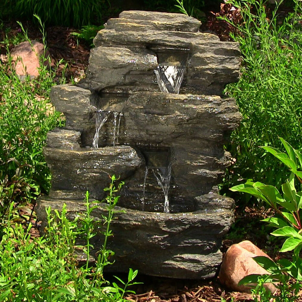 24 outdoor garden electric rock water falls fountain w for Garden waterfall fountain